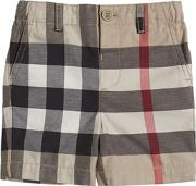 Check Light Cotton Gabardine Shorts