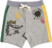 Fox Printed Cotton Sweat Shorts