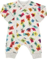 Letters Printed Cotton Romper