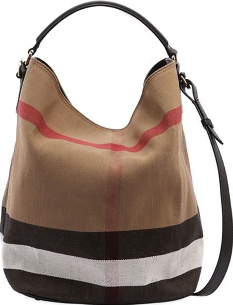 5ccabf54a9e8 Medium Ashby Check Canvas Hobo Bag. Follow burberry Follow luisaviaroma
