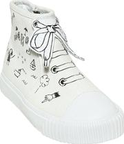 Printed Cotton Canvas High Top Sneakers
