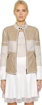 Nubuck & Perforated Leather Biker Jacket