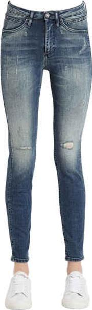 Destructed Sculpted Skinny Cotton Jeans