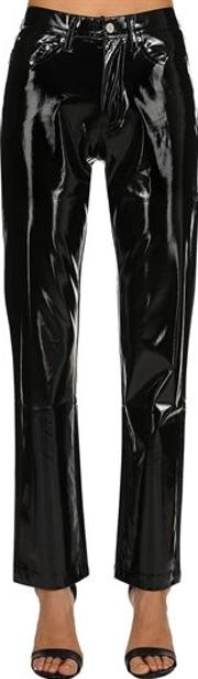 Vinyl Mid Rise Straight Pants