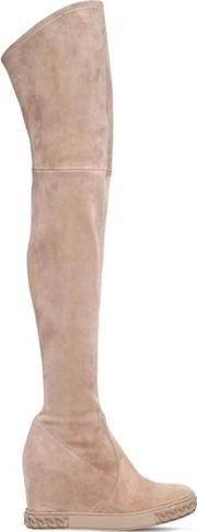 80mm Stretch Suede Over The Knee Wedges