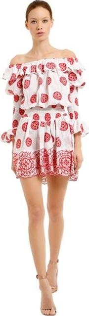 Off The Shoulder Embroidered Mini Dress
