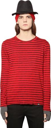 Faded Stripe Printed Cotton T Shirt