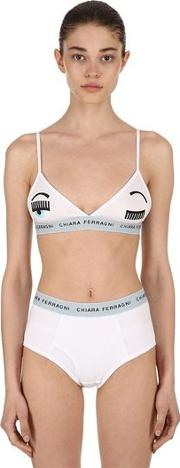 Embroidered Eye Cotton Triangle Bra
