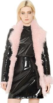 Patent Leather And Shearling Fur Coat
