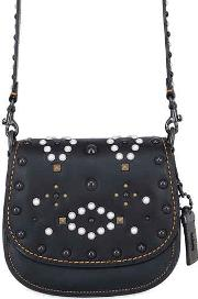 Saddle Studded Leather Shoulder Bag