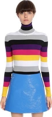 Striped Cotton Blend Turtleneck Sweater
