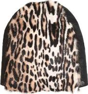 Leopard Printed Fur & Leather Beanie Hat