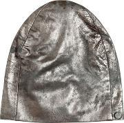 Vintage Effect Laminated Leather Beanie