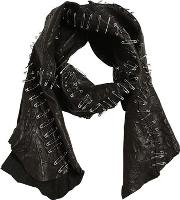 Patchwork Leather Scarf W Safety Pins