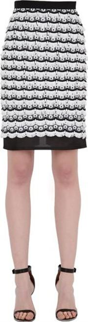Embroidered & Fringed Pencil Skirt