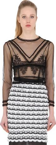 Sheer Tulle & Lace Top