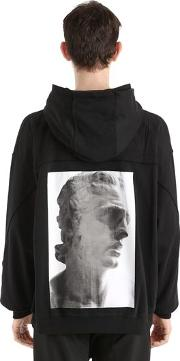 Hooded Zip Up Cotton Jersey Sweatshirt