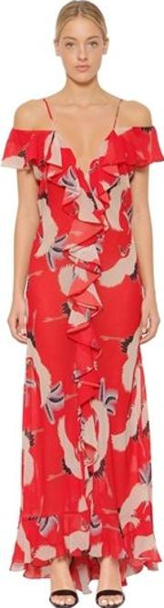 Jolene Crane Printed Chiffon Dress