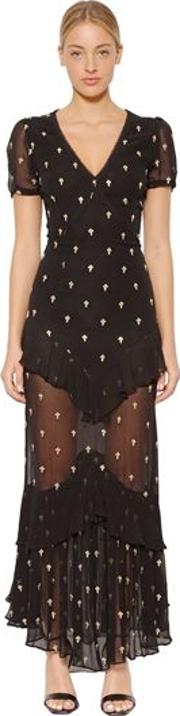 Juliette Cross Embroidered Chiffon Dress