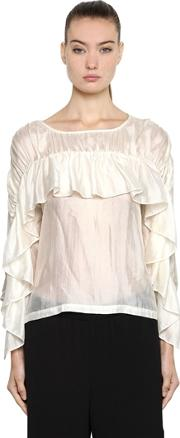 Silk Blouse W Ruffled Sleeves