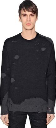 Destroyed Cotton Mohair Knit Sweater