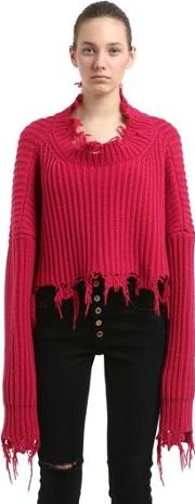 Destroyed Cropped Rib Knit Wool Sweater