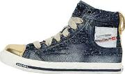 Destroyed Denim & Leather Sneakers