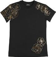 Roses Printed Cotton Jersey T Shirt