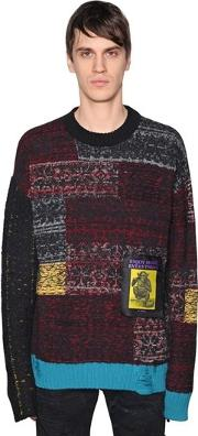 Patchwork Wool Blend Knit Sweater