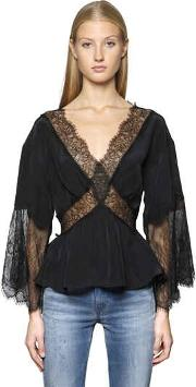 Viscose Crepe Top W Lace Inserts