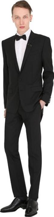 bee crest stretch wool martini suit