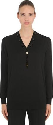 Cashmere Knit Sweater W Rosary