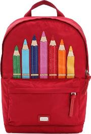 Color Pencils Nylon Canvas Backpack
