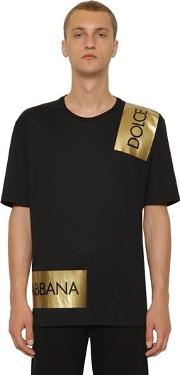 Cotton Jersey T Shirt W Logo Tape