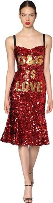 D&g Is Love Sequined Midi Dress