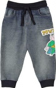 Denim Effect Cotton Sweatpants W Patch