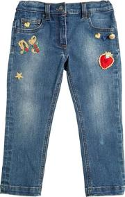 Embroidered Patches Stretch Denim Jeans
