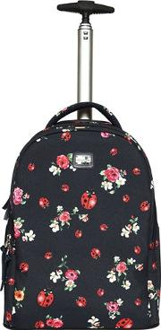 Floral Nylon Canvas Rolling Backpack