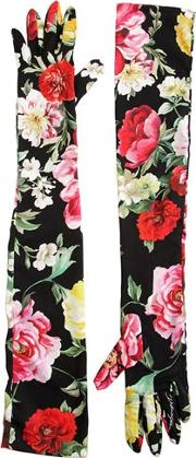 Floral Printed Charmeuse Long Gloves