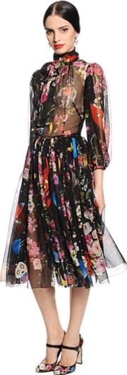 Flowers & Space Printed Chiffon Dress
