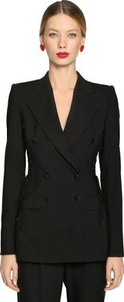Lace Up Stretch Cool Wool Blazer