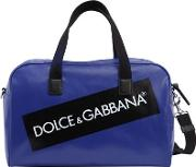 Logo Tag Print Coated Nylon Duffle Bag