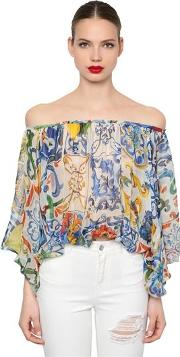 Off The Shoulder Maiolica Chiffon Shirt
