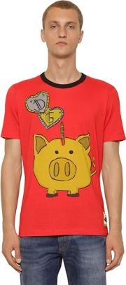 Piggy Bank Printed Cotton Jersey T Shirt