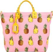 Pineapples Print Cotton Canvas Tote Bag