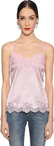 Silk Satin & Lace Top