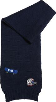 Virgin Wool Knit Scarf W Sport Patches