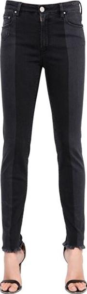 Skinny Mid Rise Two Tone Denim Jeans