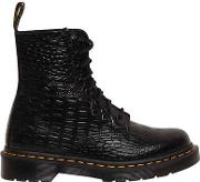 30mm Pascal Embossed Croc Leather Boots