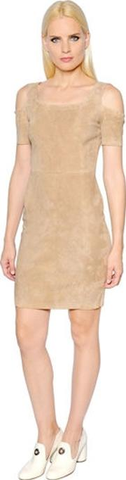 Cut Out Shoulder Stretch Suede Dress